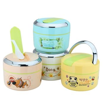 Cartoon Stainless Steel Thermo Thermal Lunch Box Kids Portable Insulation Bento Box With Spoon Food Picnic Container
