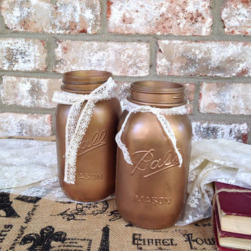 Vintage mason jar set, burnished copper color with lace trim, two quart sized glass Ball jars, vase, storage, centerpieces