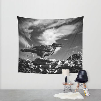 Raven Wall Tapestry, Gothic Tapestry, Black and White Decor, Clouds Tapestry, Nature Tapestry, Large Wall Decor, Scenic Wall Art