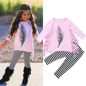 Baby Girl Long Sleeve Feather Tassel Top+Striped Pant Outfit