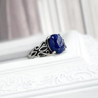 Lapis Lazuli Ring: Sterling Silver filigree band, size 7, bark blue