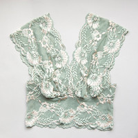 Vintage Style Wide Lace Bralette Crop Top in Mermaid Green by Brighton Lace