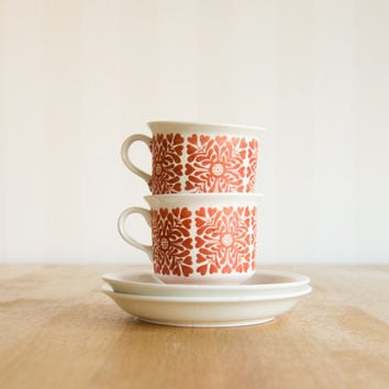 Arabia Finland Tytti Red Cup & Saucer Set by Ulla Procope