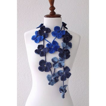 Nautical Flower Scarf Hand Crochet Lariat Scarf