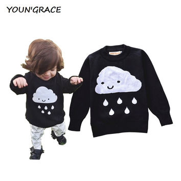 2016 Brand Design Baby Girls Cloud Pattern Knitted Sweater Trench Girls Spring Long Sleeve Cardigan Sweater Baby Girls Coat,C186