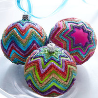 Three Chevron Ball Ornaments