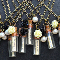 Personalized Message in a Bottle Necklace-Friendship-Bridesmaids Gifts