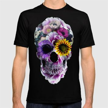 Floral Skull T-shirt by RIZA PEKER