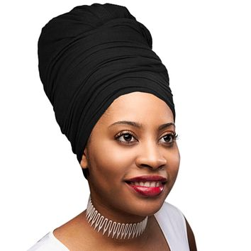 🎁 ONE DAY SALE Novarena Black Solid Color Head Wrap Stretch Long Hair Scarf Turban Tie Kente African Hat Jersey Knit Headwrap