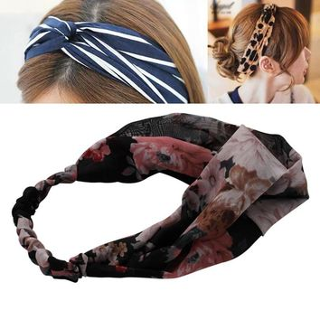 Turban Headband Haimeikang Hair Accessories for Women's Headband Striped Print Wide Bandanas Elastic Headdresses for Women