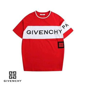 Givenchy 2019 early spring new color matching letter print round neck short-sleeved T-shirt Red