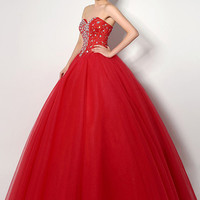 Red Sequined and Beaded Sweetheart Neckline Quinceanera Dress
