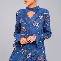 New You Royal Blue Floral Print Lace Long Sleeve Swing Dress