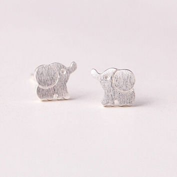925 sterling silver silver jewelry fashion contracted (drawing elephant  stud earrings) earrings 1910bde55e