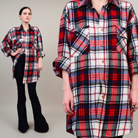 ON SALE 80s 90s Plaid Flannel Grunge Boyfriend Button Up Oversize Slouchy Lumberjack Shirt Red White Black Large L