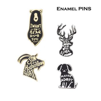 Trendy Cartoon Animal Dog Brooches Deer Bear Antelope Enamel Pin for Girls Lapel Pin Hat/bag Pins Denim Jacket Women Brooch Badge Q377 AT_94_13
