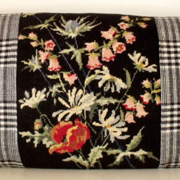 French Wool Floral Needlepoint Tapestry Thistles Andrew Martin Wool Pillow Cushion Coussin