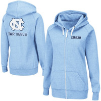 North Carolina Tar Heels :UNC: Ladies Throwback Full Zip Hoodie - Carolina Blue