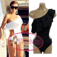 Sexy Shape Ruffle One Shoulder Monokini One Piece Swimsuit Bathing Suit SW313