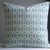 Trellis indoor outdoor light aqua pillow cover - fabric both sides- all sizes available