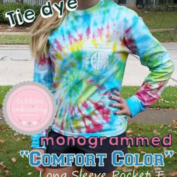 Monogrammed Tie Dye Comfort Color Long Sleeve Pocket T-Shirt Primary Colors