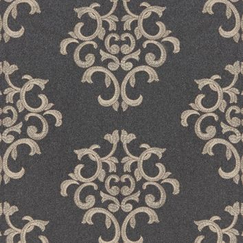 Schumacher Fabric 66830 Byron Embroidered Wool Charcoal