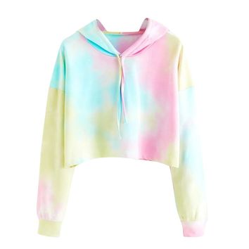 Cropped Sudaderas Mujer FeiTong Hooded Sweatshirt Women Long Sleeves Rainbow Pullover Top Blouse 2018 Female Sweatshirt Moletom