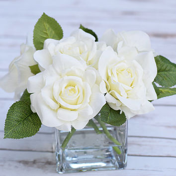 Silk White Ivory Arrangement Centerpiece - Silk Artificial Roses Home Decor - Glass Faux Water Vase Wedding