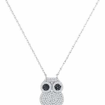 10kt White Gold Women's Round Black Color Enhanced Diamond Owl Bird Pendant Necklace 3-8 Cttw - FREE Shipping (US/CAN)