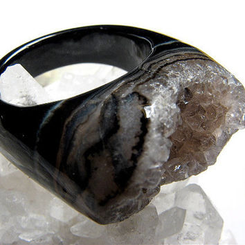 Jet Black Agate and Sparkling Druzy Cocktail Ring Size by eringotz