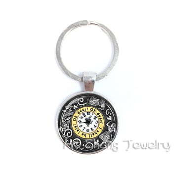 ALICE IN wonderland Key Chains Art Jewelry Glass Dome Rabbit Key Chain Ring Fashion Jewelry for Friends