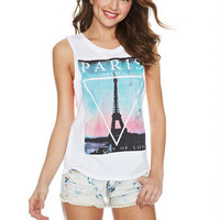 Paris Twist-Back Tank - White