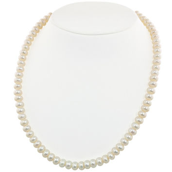"Honora 7-8 MM White Rondel Freshwater Cultured Pearl 18"" Necklace"