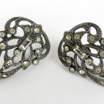 Black Filigree Earrings, Vintage Gunmetal Pierced Earrings, Rhinestone Studs