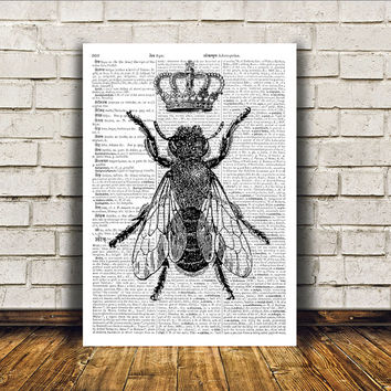 Insect art Bees poster Modern decor Dictionary print RTA136