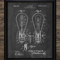 Light Bulb Patent Print - 1911 Light Bulb Design - Vintage Lighting Decor - Electric Light Invention - Single Print #1925 - INSTANT DOWNLOAD