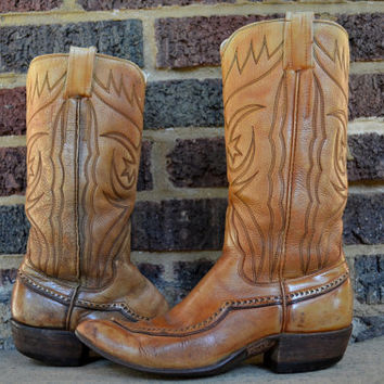 Vintage Sanders Tan Leather Stacked Heel Wing Tip Cowboy Boots
