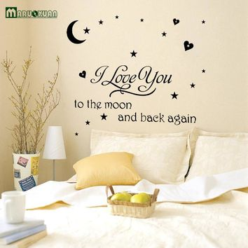 I Love You To The Moon And Back Quote Vinyl Wall Decal Wall Lettering Art Words Wall Sticker Home Decor Wedding Decoration