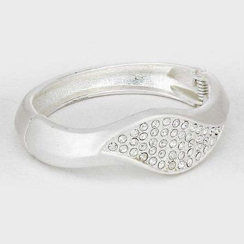 Crystal Pave Metal Hinged Bangle Bracelet