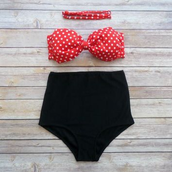 Black Bottom Polka Dots Red Bra High Waist Bikini