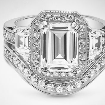 A Perfect 3.5CT Emerald Cut Russian Lab Diamond Halo Bridal Ring Set