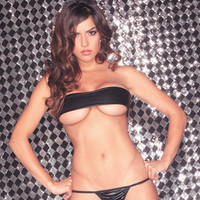 Rave Wear  Lingerie  Liquid Wet Bandeau Top and Matching G String Black o/s