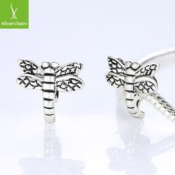 European 925 Silver Dragonfly Charm Beads Fit Pandora Bracelet Bangle For Women Jewelr