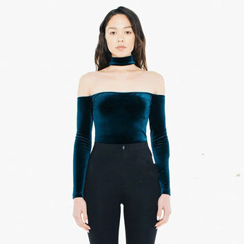 Women Halter Slash Neck Off Shoulder Velvet slit neckline choker neckline long-sleeve Choker classic crop Top