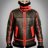 B3 Aviator Fashion Bomber Black and Red Sheepskin Leather Jacket - Best Deal