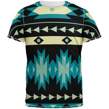 DCCKU3R Native American Pattern Blue All Over Adult T-Shirt