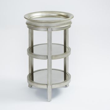 Rachel Transitional Chairside Table Antique Silver
