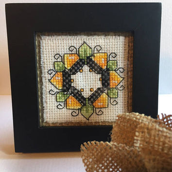 Completed cross stitch, Fall decor, framed Desk art, finished cross stitch, mini art, Hand stitched Autumn cross stitch, orange and gold