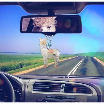 Whimsical Alpaca Car Charm