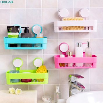 Wall Mounted Type Bathroom Storage Holder Shelf Shower Caddy Tool Organizer Rack Basket Sucker Cup JAN19
